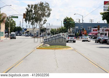 March 12, 2021 - Montebello, California: City of Montebello, Welcome Sign. Sign Placard with the city name of Montebello. Entering Montebello Sign.