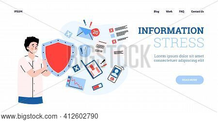 Man In Stress Holds Shield For Protection Overloading By Information Data Stream