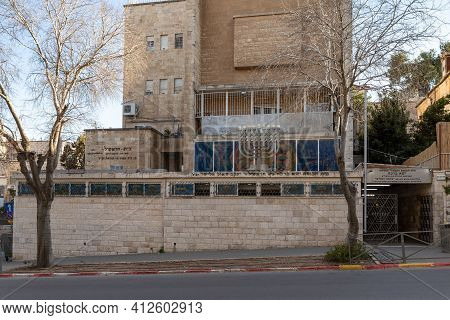 Jerusalem, Israel, February 27, 2021 : Evening View Of The Sephardic Central Synagogue In The Old Je