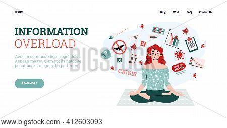 Information Overload Website Interface Design, Cartoon Vector Illustration.