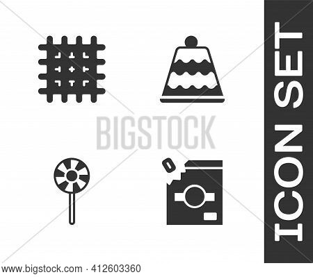 Set Candy Packaging For Sweets, Cracker Biscuit, Lollipop And Cake Icon. Vector