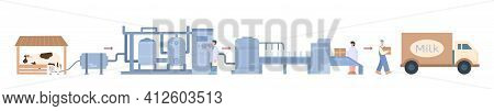 Milk Products Processing Infographic Cartoon Vector Illustration Isolated.