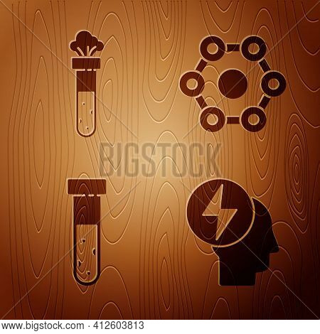 Set Head And Electric Symbol, Test Tube And Flask Chemical, Test Tube And Flask Chemical And Chemica