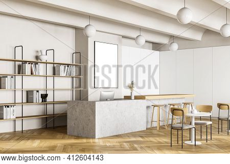 Cafeteria, Dining Room In University, Cafe With Tables And Chairs, Counter Bar Hotel.canteen Interio