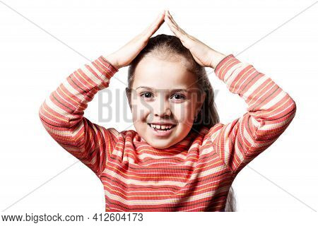 Little Girl Hided  In Imaginary House Under Roof, Isolated On A White.