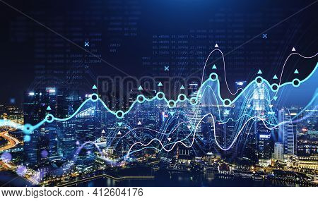 Stock Market Changes, Blue And Violet Forex Chart Dynamics. Double Exposure With Building Skyscraper