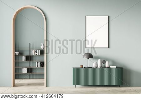 Modern Mint Color Living Room Interior With Arch And Blank Poster On Wall. Light Green Chest Of Draw