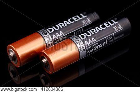 Lviv, Ukraine - March 20, 2020: Aaa Duracell Battery Black Background