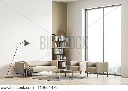 Modern Living Room Interior With Panoramic Windows Furnished By Beige Sofa, Armchairs, Coffee Table,