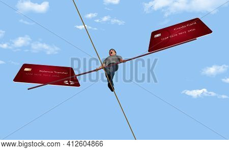 A Young Man Walks A Tightrope High Wire While Balancing His Credit Cards. This 3-d Illustration Is A
