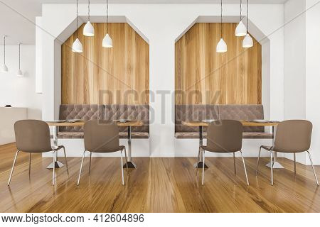 Dining Room With Modern Furniture, Wooden Table And Parquet Floor, Minimalist Design Of Restaurant I
