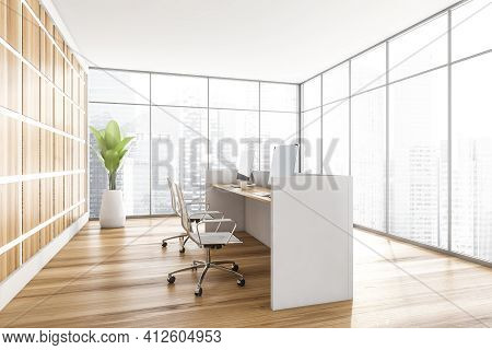 Light Wooden Office Interior With White Desk And Armchairs With Computers, Plant On Parquet Floor, S