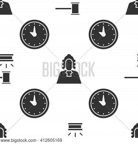 Set Judge Gavel, Judge And Clock On Seamless Pattern. Vector