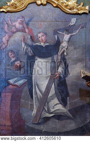 SVETI PETAR MREZNICKI, CROATIA - JULY 14, 2013: St. Vincent, the altarpiece on the altar of St. Vincent Ferrer at St. Peter's Parish Church in Sveti Petar Mreznicki, Croatia