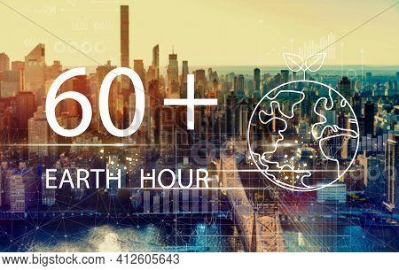 Earth Hour With The New York City Skyline Near Midtown