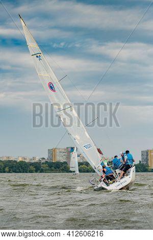 Dnepr, Ukraine- September 09, 2018: Summer Sport, Outdoor Socializing, Team Of Athletic People Havin