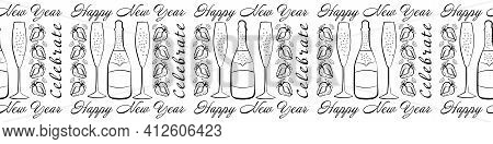 Champagne And Strawberry Celebrate Happy New Year Text Vector Seamless Border. Banner With Script Le