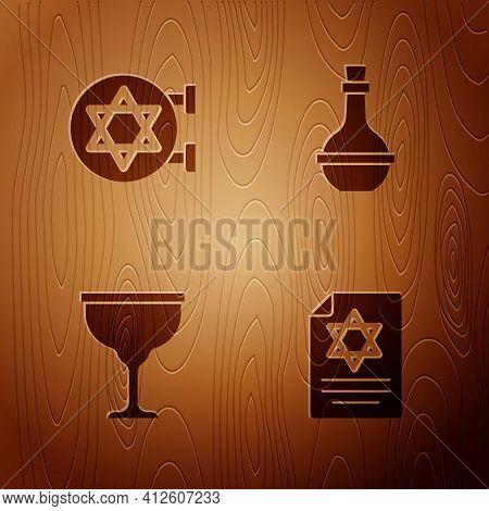 Set Torah Scroll, Jewish Synagogue, Goblet And Wine Bottle On Wooden Background. Vector