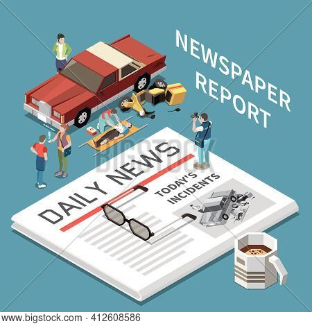 Ready Made Newspaper With Car Accident Report And Icons Of Injured People Transport And Reporter Iso