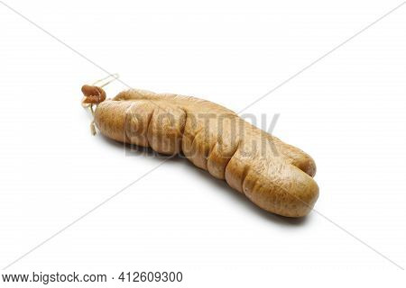 A Liver Sausage, Isolated On A White Background. Traditional Meat Product Made Of Offal, Giblet, Org