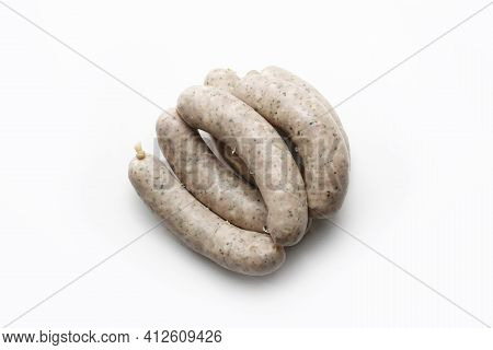 Top View Of Steamed White Sausages Made From Selected Meat And Natural , Isolated On White Backgroun