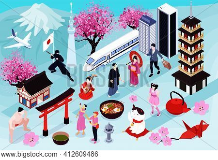 Colored And Isometric Japan Horizontal Composition With Different Traditional Food Clothing Architec