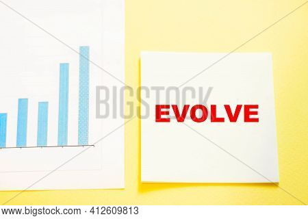 Square Piece Of Paper For Office Business Notes With The Word Evolve