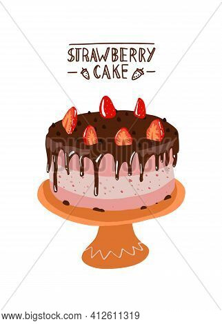 Strawberry Cake In Flat Design. Desert With Chocolate And Strawberries On A Plate. Design Cake. Bisc
