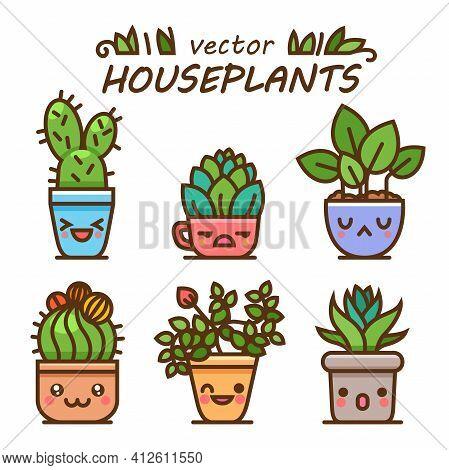 Cute Lovely Kawaii Houseplants Vector Art. Kawaii Faces Flower Pots. Cartoon Style. Vector Icons On