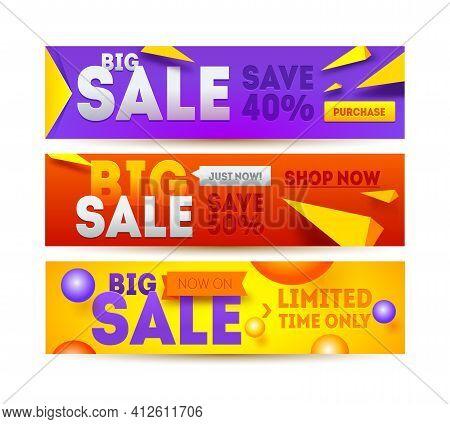 Big Sale For Website Banner. Discount Horizontal Banner Design. Sale And Discounts. Vector Illustrat