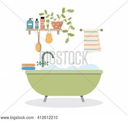 Modern Bathroom Interior. Foamy Bath Tub In Cozy Room. Bathroom Shelf With Cosmetics And Plant. Cozy