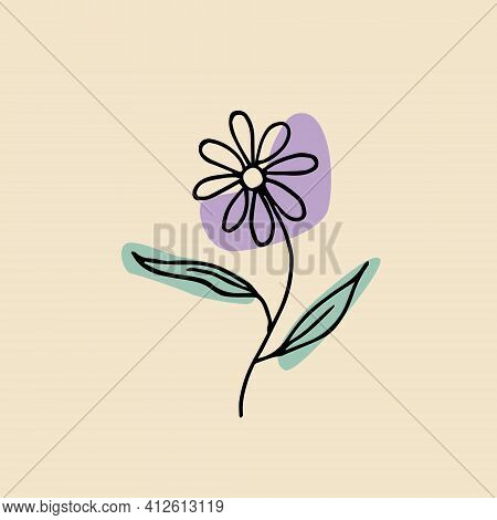 A Flower With A Stem And Two Leaves. Vector Abstract Flower Made With Spots. Purple Flower Design. F