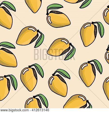 Seamless Pattern With Mango On A Yellow Background. Mango Pattern With A Twig And Leaf On A Yellow B