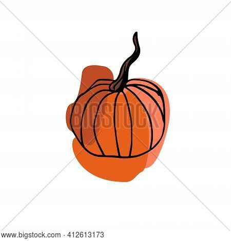 Vector Pumpkin On A White Background. Orange Pumpkin Large Spots Drawn. Pumpkin For Halloween