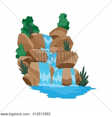 Cartoon River Waterfall. Landscape With Mountains And Trees. Design Element For Travel Brochure Or I