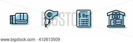 Set Line Grooming Salon Price List, Towel Stack, Hair Dryer And Pet Grooming Icon. Vector