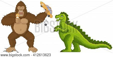 King Kong And Godzilla In Pixel-game Layout Design. Giant Pixelated Animals Attacks Humanity