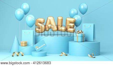 Sale Banner On Blue Background. Sale Word, Balloons, Credit Card, Shopping Bags, Gift Boxe Laying Ar