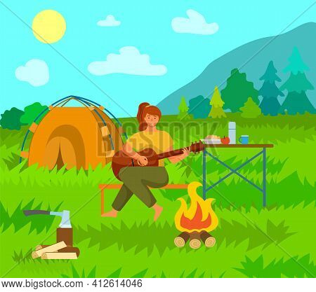 Woman Is Playing The Guitar Sitting On The Bench In Summer Campsite Near Bonfire And Tent Outdoor