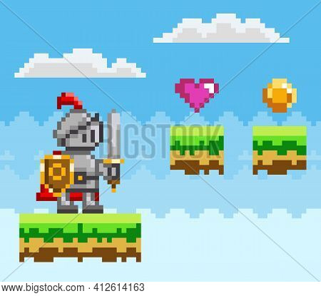 Pixel Art Style, Knight In Game Arcade Play. Character With Sword And Shield Fighting Against Enemy