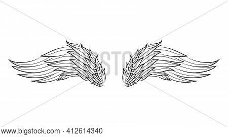 Vintage Heraldic Wings Sketch. Doodle Stylized Birds Wings. Hand Drawn Contoured Stiker Wing In Open