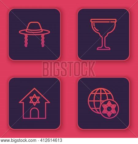 Set Line Orthodox Jewish Hat, Jewish Synagogue, Goblet And World Globe And Israel. Blue Square Butto