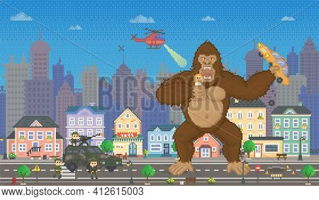 King Kong In Pixel-game Layout Design. Gorilla Attacks Humanity, Holds Pixel Girl In Hands