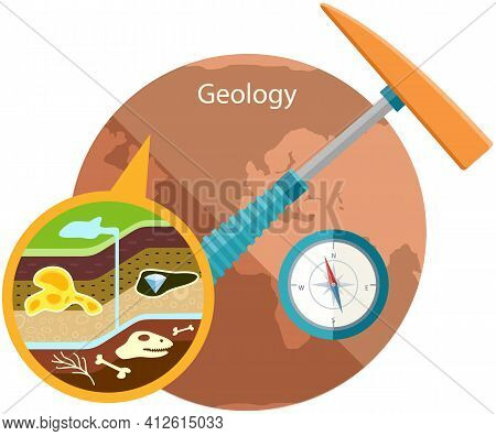 Composition Of Crust And Its Components Under Magnification. Geology As Science About Earth