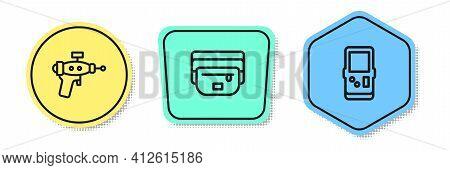 Set Line Ray Gun, Waist Bag Of Banana And Tetris. Colored Shapes. Vector