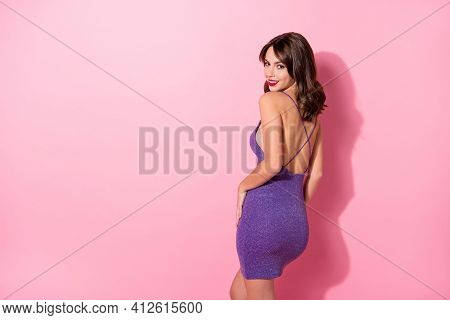 Turned Photo Of Happy Attractive Young Woman Stand Copyspace Prom Isolated On Pastel Pink Color Back