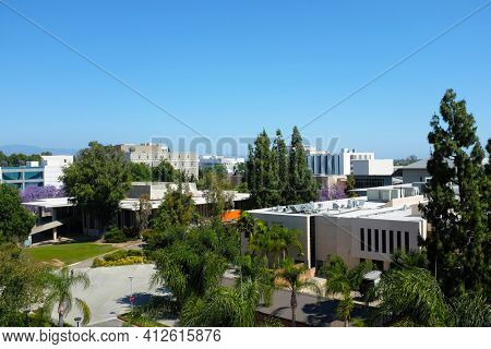 FULLERTON CALIFORNIA - 22 MAY 2020: Overview of the Campus of the California State University Fullerton, CSUF, seen from State College Parking Structure.
