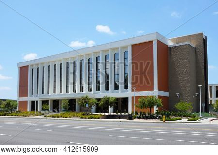 FULLERTON CALIFORNIA - 23 MAY 2020: Titan Hall at California State University Fullerton, CSUF, is across from the College of the Arts on State College Boulevard.