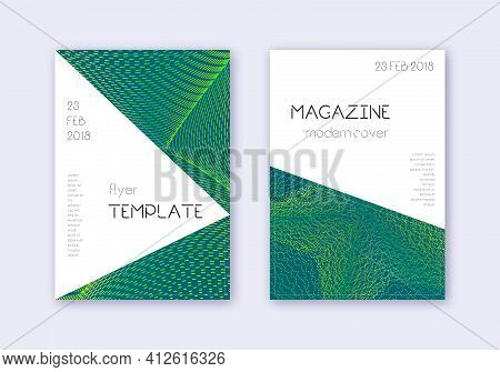 Triangle Cover Design Template Set. Green Abstract