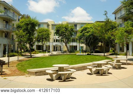 FULLERTON CALIFORNIA - 23 MAY 2020: Student Housing on the campus of  California State University Fullerton. The Willow, Oak and Manzanita buildings are shown.